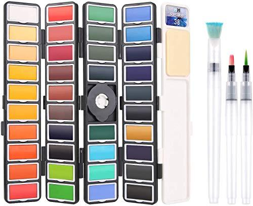 BBLIKE Acuarelas, Set de Pintura de Acuarela sólida,38 Colores Caja de Almacenamiento del Sector con 3 Pincel de Pintura de Agua Pigmento de Acuarelas portatiles para artículos de Arte