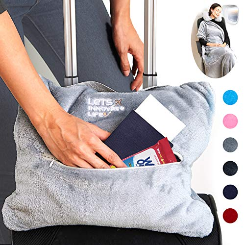 4 in 1 Travel Blanket - Lightweight, Warm and Portable. The Latest Small Compact Airplane Blankets & Pillow Set. Made of Warm Plush, 2 Practical Mesh...