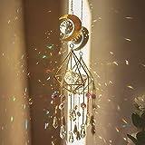 Kristall-Lichtfangornamente Kristallanhänger, Mondwindspiele Sonnenfänger, prismatischer Metallrahmen, Bunte sechseckige Kristalle, mit Metallrahmen