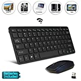 Black Wireless Mini Ultra Slim Keyboard and Mouse For Easy Smart TV Contol for Samsung EH5300 Series 5 Smart TV
