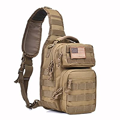 Tactical Sling Bag Pack Military Rover Shoulder Sling Backpack Molle Assault Range Bag Everyday Carry Diaper Bag Day Pack Small Tan