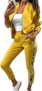 Yying Juego de Chándal con Brillo para Mujer Conjunto de Dos Piezas de Otoño Conjunto de Top y Pantalones Conjunto de 2 Pi...