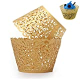 WSERE 60 Pieces Gold Cupcake Wrappers, Lace Liner Muffin Paper Cake...