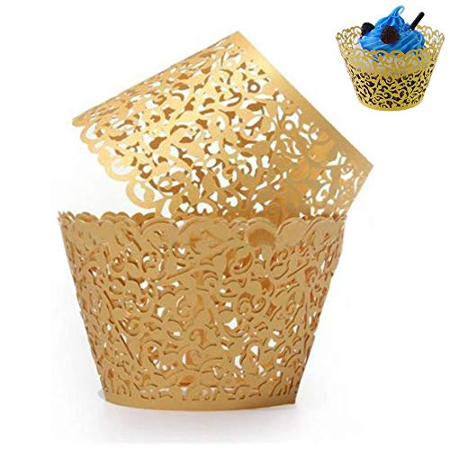 WSERE 60 Pieces Cupcake Wrappers, 7 Colors Lace Liner Muffin Paper Cake Wraps Decorations, Safety Health for Wedding Party Birthday Decor(Gold)