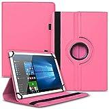 UC-Express Tablet Schutzhülle kompatibel für Asus ZenPad 10 Z301ML Z301MFL Z300M Hülle Tasche 360° Drehbar Kunstleder Standfunktion Cover Universal Hülle, Farben:Pink