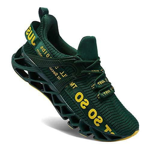 Wonesion Herren Schuhe Laufschuhe Herren Damen Sportschuhe Straßenlaufschuhe Sneaker Joggingschuhe Turnschuhe Walkingschuhe Traillauf Fitness Schuhe, 5-Dunkel grün, 42 EU