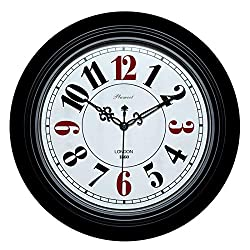 Plumeet Vintage Wall Clock - 13'' Non Ticking Classic Clock with Quiet Movement, Retro Wall Clocks Decorative Kitchen Living Room Bedroom - Battery Operated