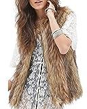 Minetom Damen Kunstpelz Weste Fellweste West Kunstfell Winterjacke Jacket Waistcoat Braun 44