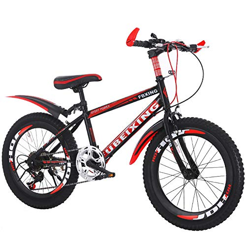 LINGYUN High Carbon Steel Students Kids Bike, Mountain Bike, V Brake Speed Boys and Girls Bicycle, 18 20 22 Inch Youth Cycling Adult Male and Female,Red,18in