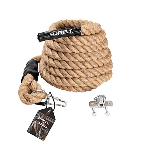 AJAFIT Gym Climbing Rope for Indoor or Outdoor Workouts,Crossfit Fitness Exercise,1.5 Inch in Diameter 15/20/25 ft Length Available,HEAVY DUTY Manila Hemp Two Easy Install Modes (Hanger Included)(15)