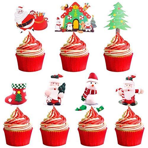 BAIBEI 8 PCS Natale Cupcake Toppers, Toppers Cupcake Natalizi,Torta Toppers Adatti per Torte Dessert Decorazioni per Natale Nozze Decorazione Forniture o Festa di Compleanno