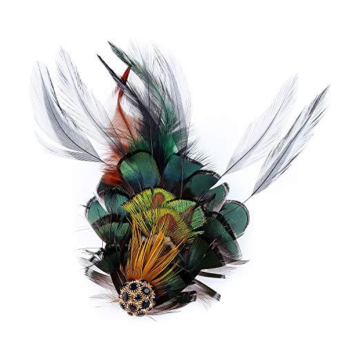 Seven & Nine Service Peacock Feather Hair Clip Fascinator with Black Rhinestones