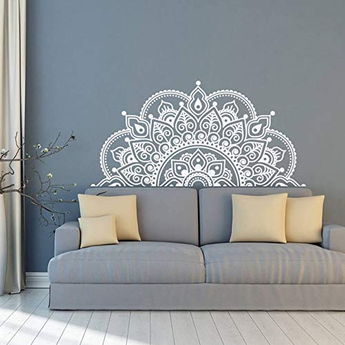 BAYUE Muurstickers Mandala, half mandala, vinyl, muurstickers voor yoga, cadeau-ideeën, hoofdkamer, motief kunst nachtkastje decoratie MT44 L 116x57cm Zwart