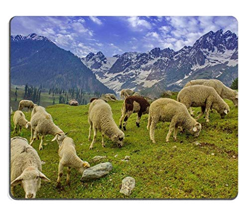 Natural Rubber Gaming Mousepad Grazing Goat and Sheep in The Mountains (Mouse pad/Gaming Mouse pad)
