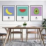 Cuadro de fruta fresca de 3 piezas, arte de pared, plátano, sandía, aguacate, póster, impresión en HD, lienzo modular, pintura para sala de estar, 50x70cm