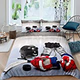 Erosebridal Teens Ice Hockey Comforter Cover, Boys Puck Duvet Cover Twin Size, Sports Games Theme Bedding Set...