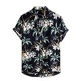 Camisa de verano para hombre, manga corta, con botones, para verano, vintage, con bolsillos, para el tiempo libre Negro_1. M