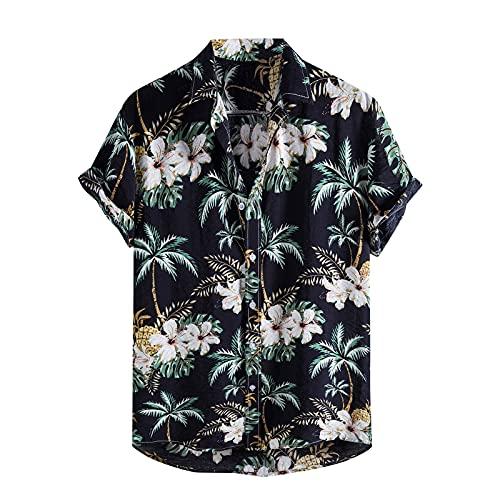 Camisas Manga Corta Hombre Hawaiana Estampado Cuello de Solapa Camisa Hombres Casual Verano Tallas Grandes Tops Blusa Originales de Vestir Shirt Algodon 2021 Barata