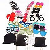 Accesorios Photocall,44 PCS Accesorios para Fotomatón Photo Booth Props Incluyendo Bigotes Gafas Pelo Arcos Sombreros para Bodas Cumpleaños Regalos de Fiesta