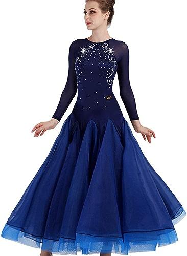 CX Valse élégante Robe De Compétition Maille Manches Moderne Danse Jupe Vêtements De Danse Norme Nationale