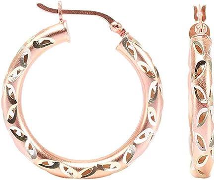 LeCalla Sterling Silver Jewelry Rose Gold Diamond Cut Work Hoop Earrings for Women