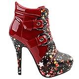 SHOW STORY Punk Stars Black Buckle High Heel Stiletto Platform Ankle Boots,LF30301BH39,8US,Wine Red