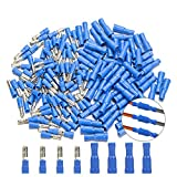 Bullet Butt Connectors, Sibaok 200pcs 16-14 AWG Assorted Insulated Female & Male Bullet Butt Wire Crimp Connector Terminals Assortment Kit, Blue