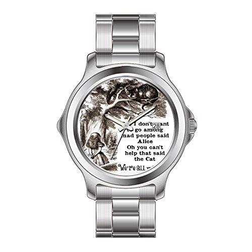 FDC–Navidad regalo relojes hombre Fashion FECHA acero inoxidable reloj de pulsera de cuarzo japonés Alicia en el país de las maravillas; gato de Cheshire con Alice