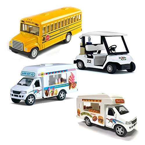 Magical Memories Collection Diecast Toy Trucks Set of 4 | Ice Cream Truck, Food Truck, School Bus, Golf Cart | Pullback Truck Toys for Boys and Girls and Detailed Interior