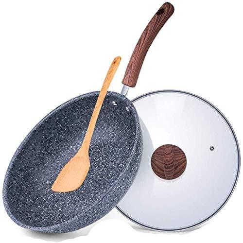 JiangKui Pans Frying Pan Flat-Bottom Wok Non-Stick Wok Cast Aluminium Multi Ply Clad Coating with Flattened Free Send Sponge32cm