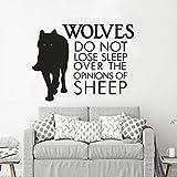 Lobo Animal Vinilo Adhesivo de Pared Lobo no Puede Dormir Debido a la opinión de Las ovejas Etiqueta de la Pared decoración de la Oficina 63x48cm