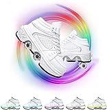 SHHAN Zapatos Luminosos Zapatos De Polea Patines De Hielo Zapatos De Deformación Multifuncionales Calzado Deportivo Ruedas Tira 4 Modos Y 7 Colores Unisexo,41
