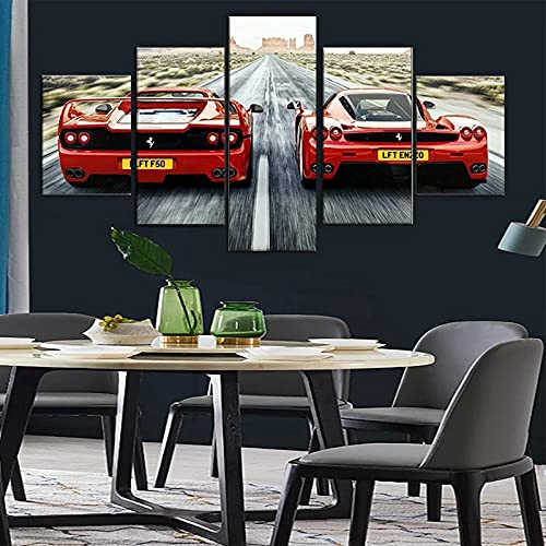 Cuadro sobre Impresión Lienzo 5 Piezas-Mural Moderno Coche deportivo Ferrary Enzo Rojo 5 Piezas,No Tejido Lienzo Impresión Dormitorios Decor El Hogar Modular Poster Mural-Listo para Colgar