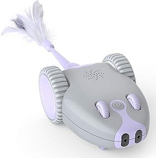 DADYPET 猫おもちゃ 電動 猫じゃらし ねずみ 羽おもちゃ 電動猫用おもちゃ 玩具車 ねずみ声付 ぶらぶら 左右に振り LEDライト 猫運動不足対策 交換用羽付き USB充電式 5点セット