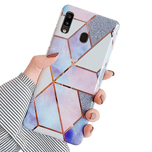 Urhause Kompatibel mit Samsung Galaxy A20 Hülle TPU Silikon Bunt Schutzhülle,[Marmor Muster Silikonhülle] Hülle Gemalt,Ultra Slim Durchsichtig mit Muster Bumper Stoßfest Hülle,Lila