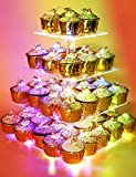 Vdomus Pastry Stand 4 Tier Acrylic Cupcake Display Stand with LED String Lights Dessert Tr...
