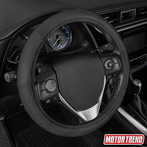 """Motor Trend Soft Touch Steering Wheel Cover – Perforated Microfiber Leather with Classic Stitching for Wheel Sizes 14.5"""" to 15.5"""" (Black)"""