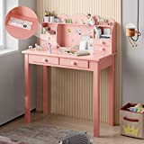 ADORNEVE Small Pink Writing Desk with Power Strip & 2-Outlet & 2 USB, 31.5' Girls Desk/Study Desk with Drawers & Detachable Hutch for Home Office
