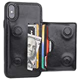 KIHUWEY iPhone Xs Wallet Case iPhone X Wallet Case Credit Card Holder, Premium Leather Kickstand Durable Shockproof Protective Cover iPhone X/Xs 5.8 Inch(Black)