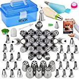 RFAQK Russian Piping Tips set-Cake Decorating Supplies Kit with Storage Box-Cupcake Tips-54 Numbered Icing Nozzles(28 Russian Tips+24 Icing Tips+1 Leaf Tip+1 Ball tip)-Pattern Chart, EBook User Guide