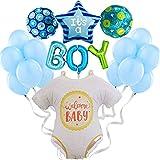 Baby Shower Decoración Globos de Helio - Photocall Babyshower Bautizo - Fiesta de Bienvenida de Bebé Niño - Set de 19 Globos Baby Shower Azul - Fiesta recién nacido - Regalo bebé - Nacimiento