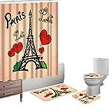 Bearbae Paris Love Romance - Juego de 16 alfombrillas de baño para decoración de la torre Eiffel con 12 ganchos