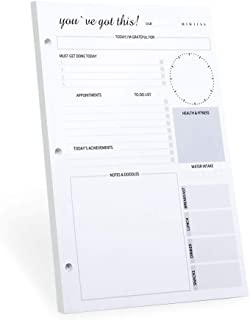 to Do List Notepad,3-Hole Punched Undated Daily Planner for Office Supplies,Collections to Do List Planner Tear Off Pad with Daily Calendar,Schedule,Meal Planner,Self Care 50 Undated Sheets,8.5x11