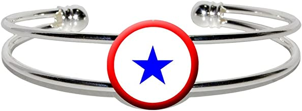 Blue Star Flag - One 1 War Mother Service - Novelty Silver Plated Metal Cuff Bangle Bracelet