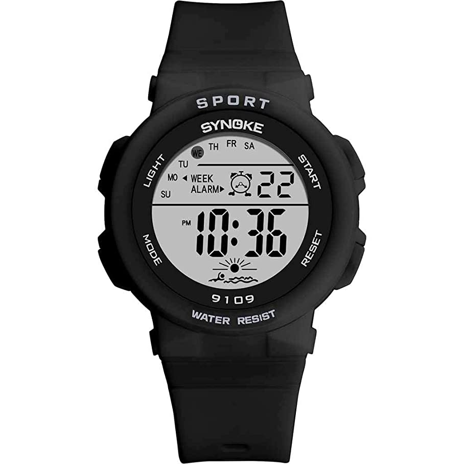 泥構築する痴漢子供男の子女の子学生腕時計電子時計、発光目覚まし時計ストップウォッチバックライト30メートル防水多機能デジタルディスプレイスポーツウォッチ