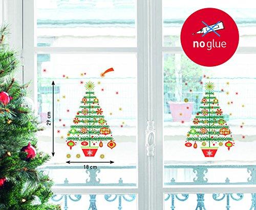 NOUVELLES IMAGES 170.001963.05 Stickers Design Sapin de Noël décoré avec Cime, Polyvinyle, Multicolore, 36 x 24 x 0,02 cm