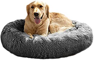Mirkoo Calming Dog Bed Fluffy Plush Cat Bed, Washable Round Fur Donut Pet Bed for Large Medium Dogs and Cats, Faux Fur...