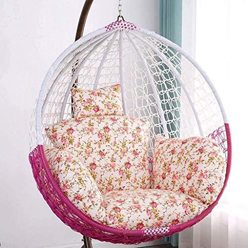 Chaise hamac Coussin, liez Fauteuil Suspendu Pad, Coussin Swing avec oreiller for jardin intérieur extérieur suspendu panier Chaise, Violet 8bayfa (Color : Flower Colori)