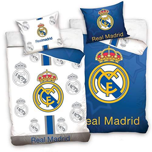 Real Madrid CF - Juego de Funda nórdica y Funda de Almohada Reversible, Color Azul y Blanco