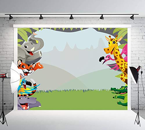 Muzi Photography Backdrops Jungle Safari Themed animals birthday party banner photo background Natural Scenery Sweet Baby Kids Portrait Party Backdrop 200x150cm W-303